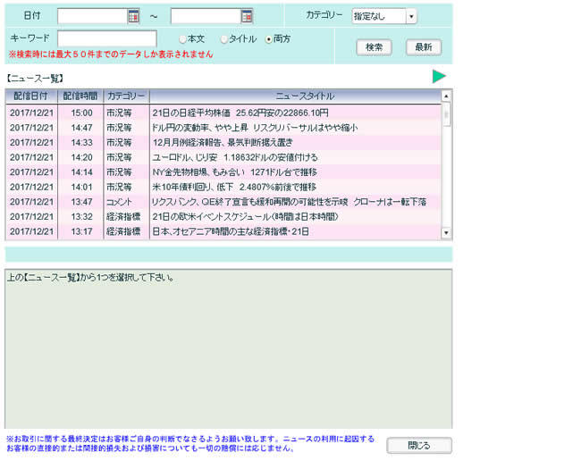 ひまわり証券[ひまわりFXレギュラー口座](情報ツール)