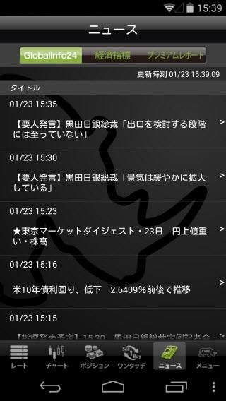 YJFX![外貨ex]のAndroidニュース画面