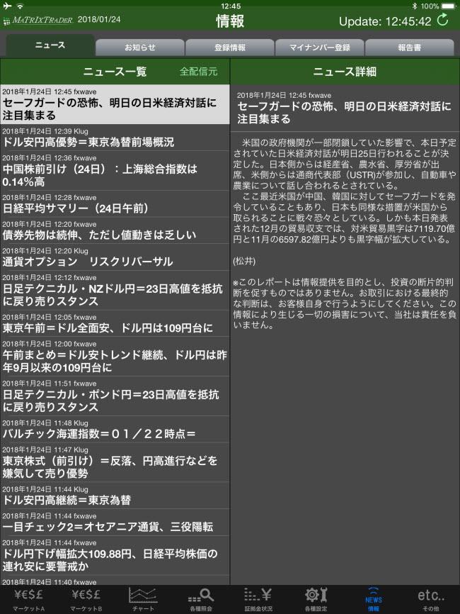 JFX[MATRIXTRADER]iPadマーケット情報画面
