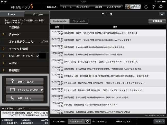 FXプライム byGMO[選べる外貨]iPadマーケット情報画面