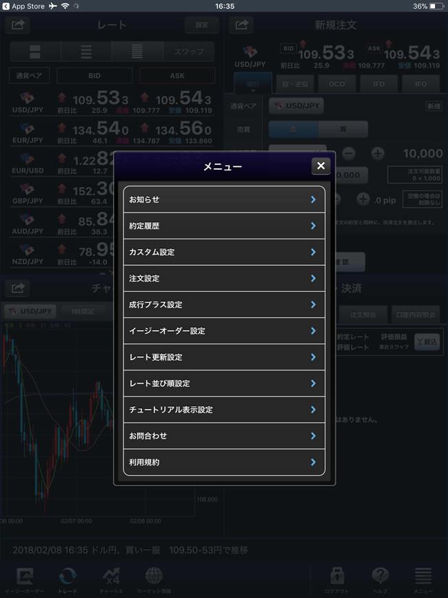 セントラル短資FX[FXダイレクトプラス]iPadメニュー画面