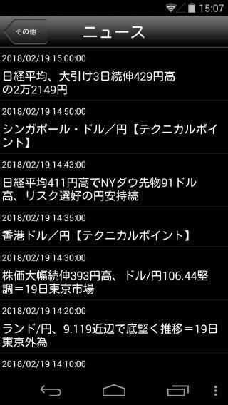 SBIFXトレード[SBIFXTRADE]Androidニュース画面