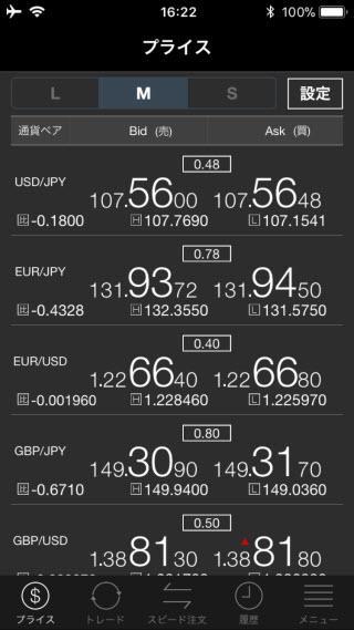 セントラル短資FX[ウルトラFX]のiPhoneTOP画面