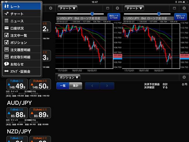 FXブロードネット[ブロードライトコース]、[ブロードコース]iPadメニュー画面
