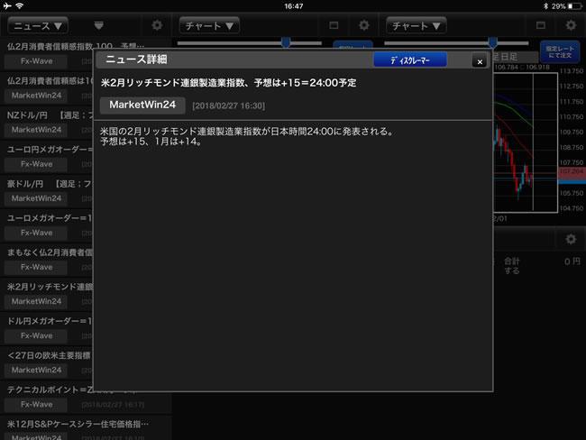 FXブロードネット[ブロードライトコース]、[ブロードコース]iPadマーケット情報画面