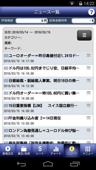 大和証券[ダイワFX]ニュース画面
