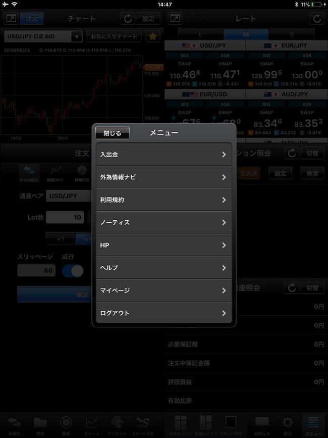 外為どっとコム[外貨ネクストネオ]iPadメニュー画面