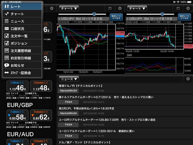 ひまわり証券[ひまわりFXレギュラー口座]iPadメニュー画面