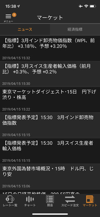松井証券[FX]iPhoneニュース画面