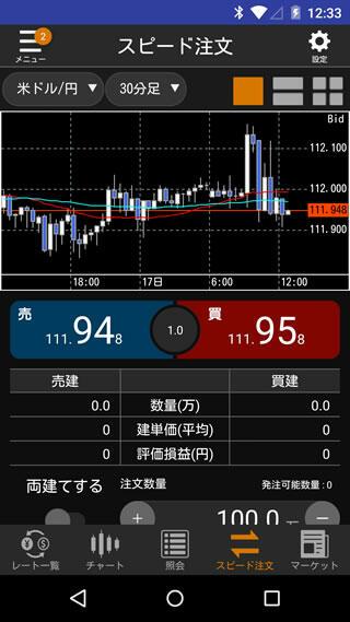 松井証券[FX]Androidスピード系注文画面