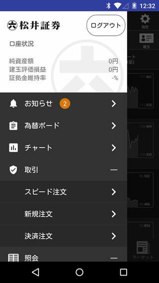 松井証券[FX]AndroidTOP画面