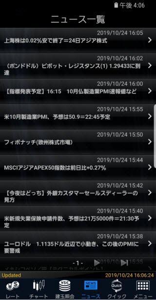マネックス証券[FXPLUS]のAndroidニュース画面