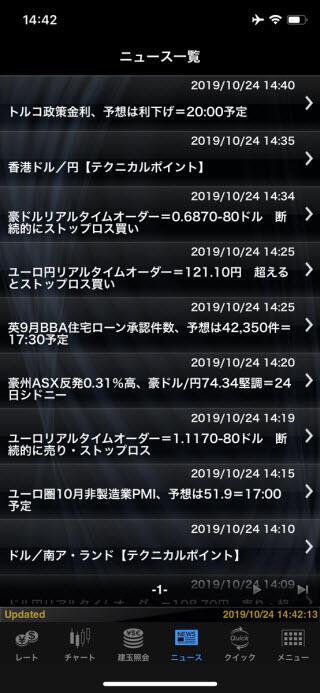 マネックス証券[FXPLUS]のiPhoneニュース画面