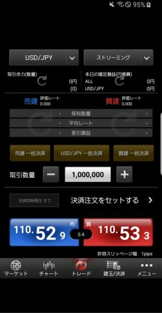 マネーパートナーズ[パートナーズFXnano]Android注文画面