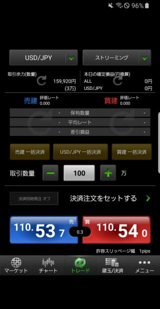 マネーパートナーズ[パートナーズFX]Android注文画面
