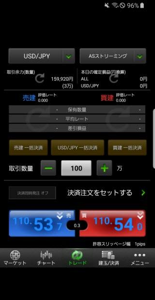 マネーパートナーズ[パートナーズFX]のAndroidスピード系注文画面