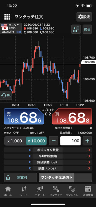 YJFX![外貨ex]のiPhoneスピード系注文画面