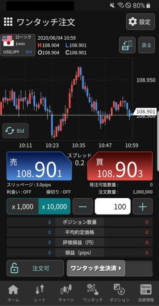 YJFX![外貨ex]のAndroidスピード系注文画面