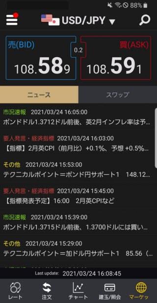 auカブコム証券[auカブコムFX]Androidニュース画面