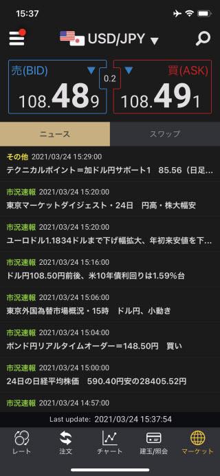auカブコム証券[auカブコムFX]iPhoneニュース画面