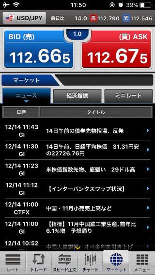 セントラル短資FX[FXダイレクトプラス]のiPhoneニュース画面