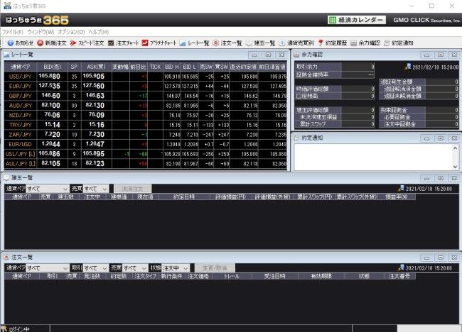 GMOクリック証券【くりっく365】(取引画面全体)
