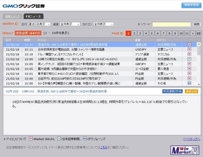 GMOクリック証券【くりっく365】(情報ツール)