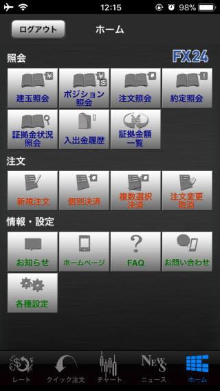 インヴァスト証券[FX24]TOP画面
