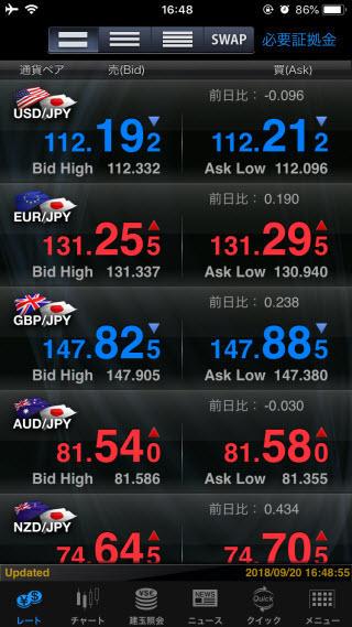 マネックス証券[FXPLUS]のiPhoneTOP画面