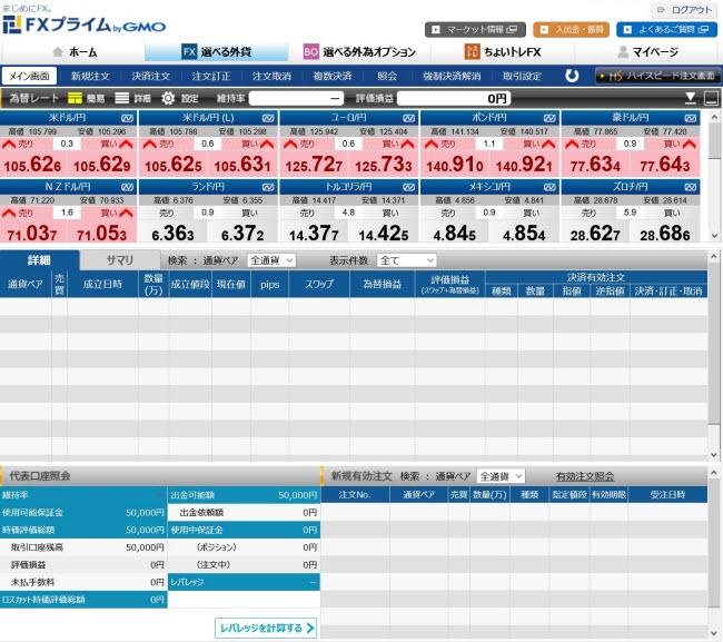FXプライム byGMO[選べる外貨](取引画面全体)