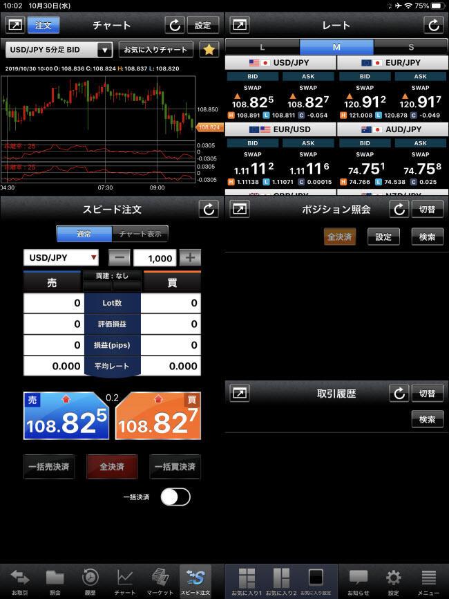 外為どっとコム[外貨ネクストネオ]iPadスピード注文画面