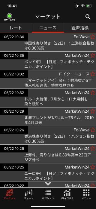 外為オンラインiPhoneニュース画面