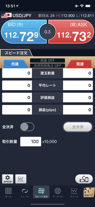 GMOクリック証券[FXネオ]のiPhoneスピード系注文画面