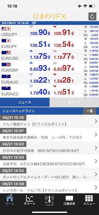 ひまわり証券[ひまわりFX]iPhoneTOP画面
