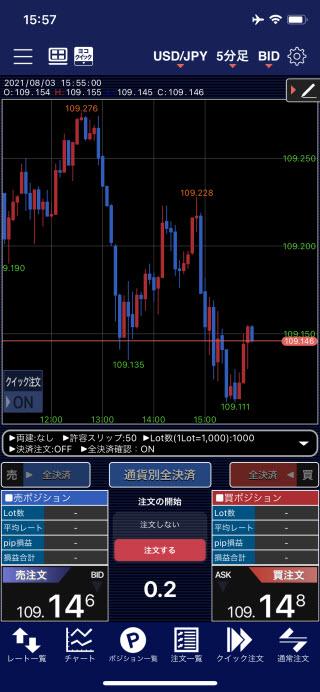 ヒロセ通商[LIONFX]のiPhoneスピード系注文画面