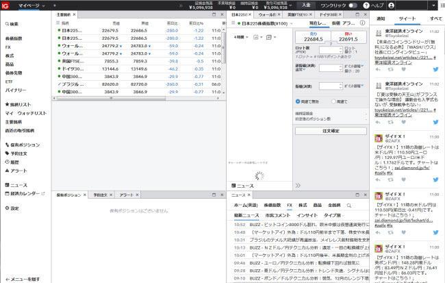 IG証券CFD(取引画面全体)