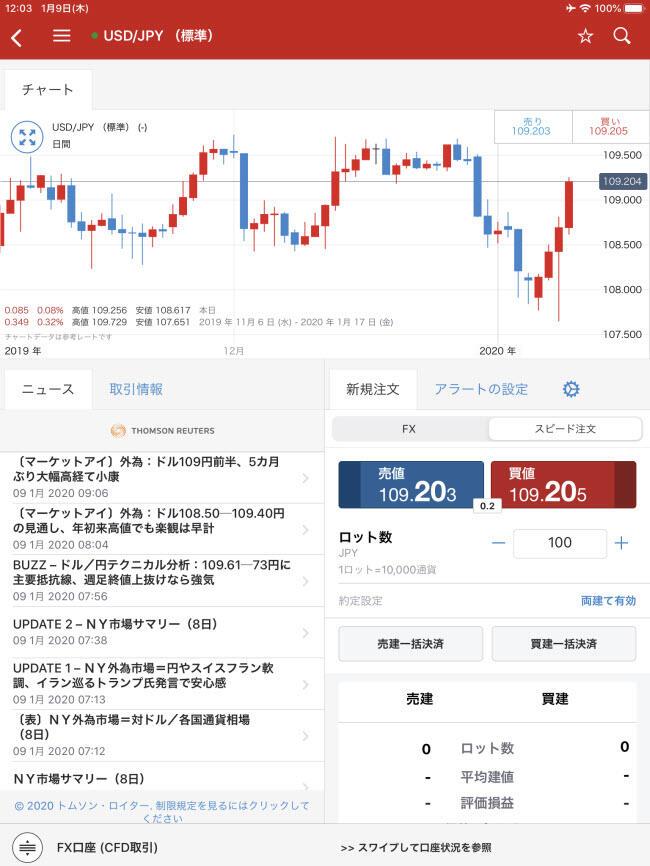 IG証券iPadスピード注文画面