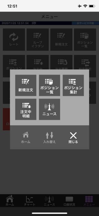 アイネット証券[アイネットFX]iPhoneチャートプラスメニュー画面
