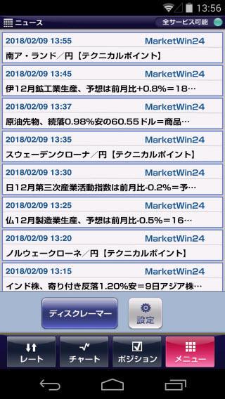 アイネット証券[アイネットFX]Androidニュース画面