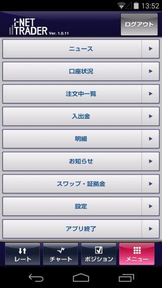アイネット証券[アイネットFX]AndroidTOP画面