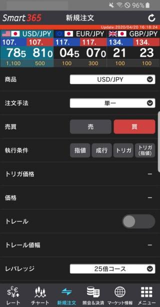 インヴァスト証券【くりっく365】注文画面