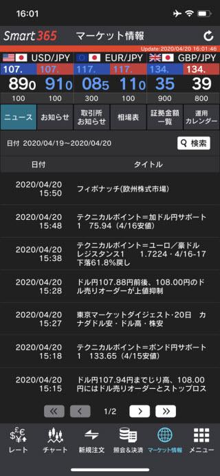 インヴァスト証券【くりっく365】iPhoneニュース画面