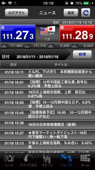 岩井コスモ証券【くりっく365】ニュース画面