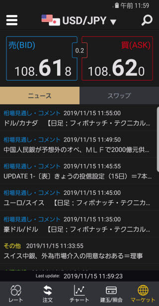 カブドットコム証券[シストレFX]Androidニュース画面