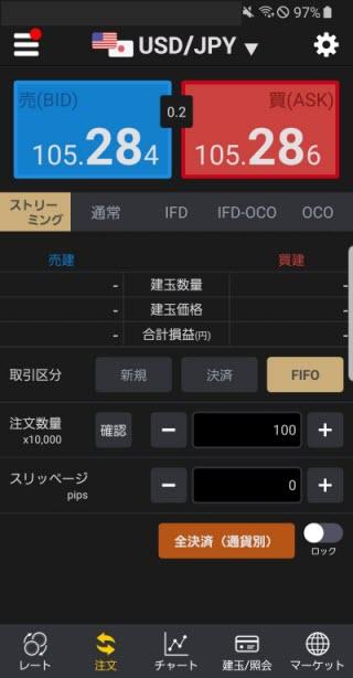 auカブコム証券[シストレFX]Androidスピード系注文画面