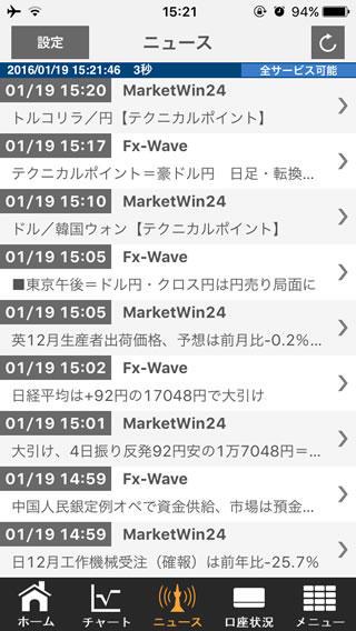 ライブスター証券[ライブスターFX]iPhoneニュース画面