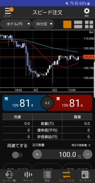 松井証券[松井証券 MATSUI FX]Androidスピード系注文画面