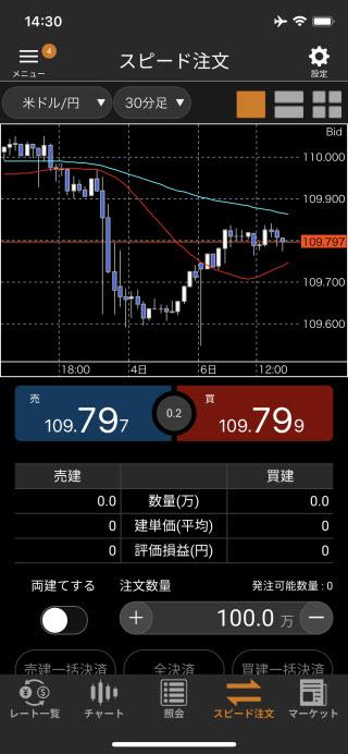 松井証券[松井証券 MATSUI FX]のiPhoneスピード系注文画面