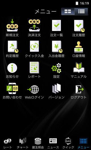 マネックス証券[マネックスFX]のAndroidTOP画面