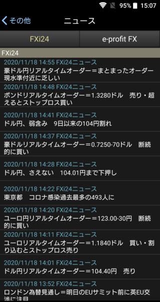 岡三オンライン証券【くりっく365】Androidニュース画面